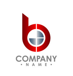 Letter b icon technology smart logo computer vector