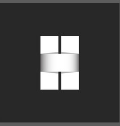 letter h logo bold monogram paper cut wide vector image