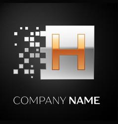 letter h logo symbol in the golden-silver square vector image