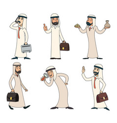 Lineart arab businessman character icons set retro vector