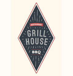 Logo bbq grill house vector