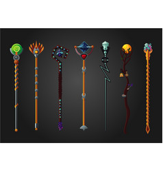 Magic wand set fantasy staff collection cartoon vector