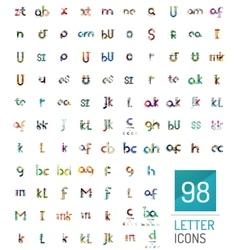 Mega collection of 98 line designed letter logos vector image
