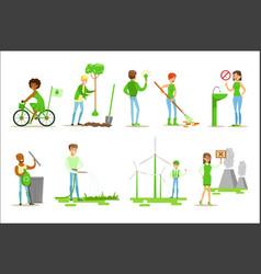 Men and women contributing into environment vector