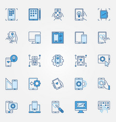 mobile app development blue creative icons set vector image
