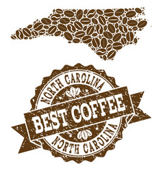 Mosaic map of north carolina state with coffee vector