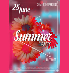 new designe summer party flyer or poster template vector image vector image