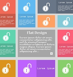 Open lock icon sign Set of multicolored buttons vector