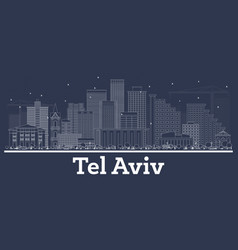 outline tel aviv israel city skyline with white vector image