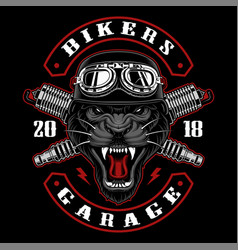 panther biker with spark plugs vector image