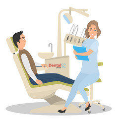 patient on reception in the office of a dentist vector image