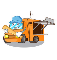 playing baseball rendering cartoon of food truck vector image