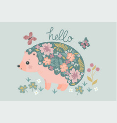 postcard with a blooming hedgehog vector image