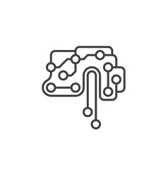 printed circuit board brain icon in thin vector image