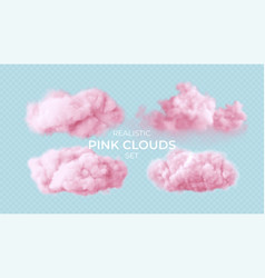 realistic pink fluffy clouds set isolated vector image