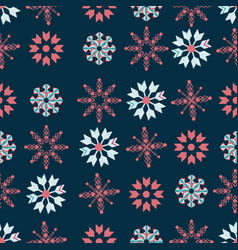 red and blue stars on indigo background seamless vector image