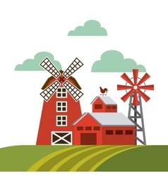 Red barn over farm landscape vector