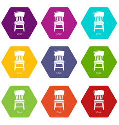 retro chair icons set 9 vector image