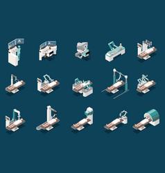 Robotic surgery icons set vector