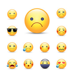 Sad sorry cartoon emoji face set unhappy vector