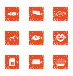 sausage icons set grunge style vector image