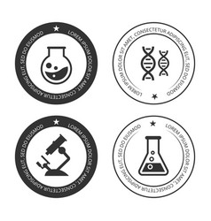 Science labels collection with silhouette icons vector