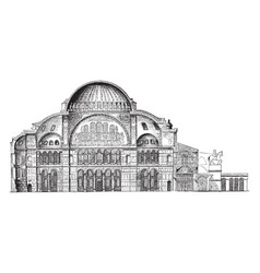 Section of hagia sophia semicircle vintage vector
