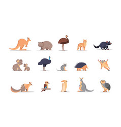 set cartoon endangered wild australian animals vector image