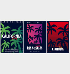 set of california surfing graphics with palms t vector image