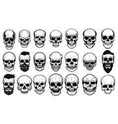Set of human skull on white background design vector