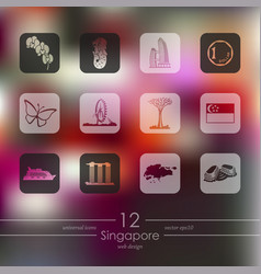Set of singapore icons vector