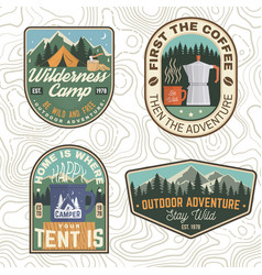 set summer camp patches concept for vector image