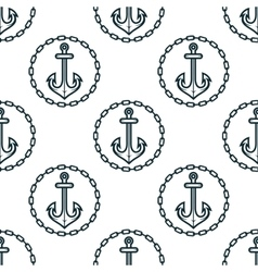 Ship anchors with chain border spattern vector