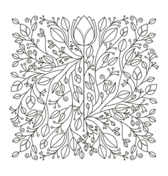 silhouette decorative ornament floral design vector image