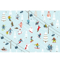 Ski Resort Seamless Pattern with Snowboarders and vector