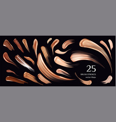 Skin foundation brush strokes collection smears vector