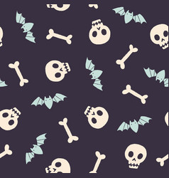 skulls bones and bats halloween seamless pattern vector image