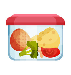 Slab cheese and chicken leg stored in container vector