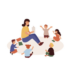 smiling kindergarten teacher and kids flat vector image
