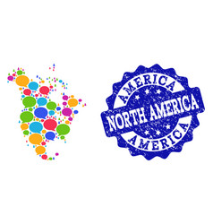 Social network map of north america with speech vector
