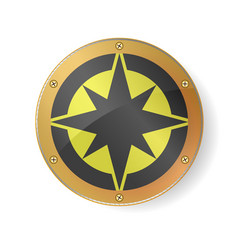 Souvenir - compass rose symbol in golden frame vector