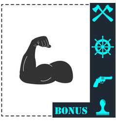 strong flex arm icon flat vector image