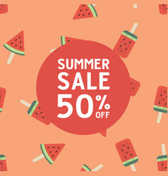 summer sale with watermelon ice cream vector image