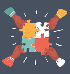 Team work concept business hands connect puzzle vector
