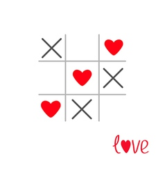 Tic tac toe game with cross and heart sign mark vector