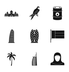 Tourism in UAE icons set simple style vector