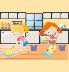 Two girls mopping the kitchen floor vector