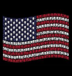 Waving united states flag stylization of popcorn vector