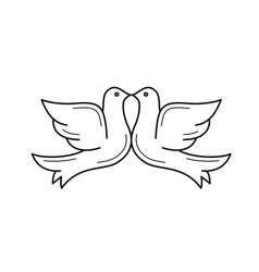 Wedding doves line icon vector