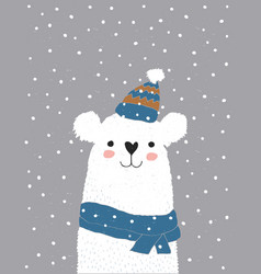 white bear in a blue cotton hat with white tassel vector image